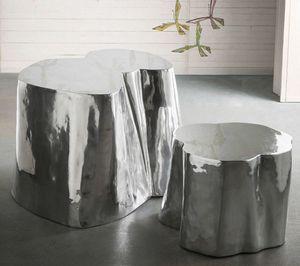 Otto tall + low, Coppia di tavolini in alluminio