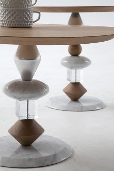 PANDORA, Tavolino in marmo, legno e vetro