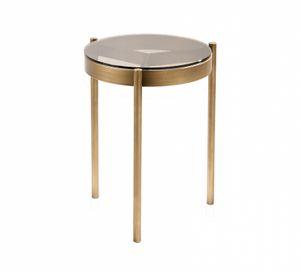 Piccadilly tavolino, Tavolino alto, in metallo bronzato, con piano tondo in vetro