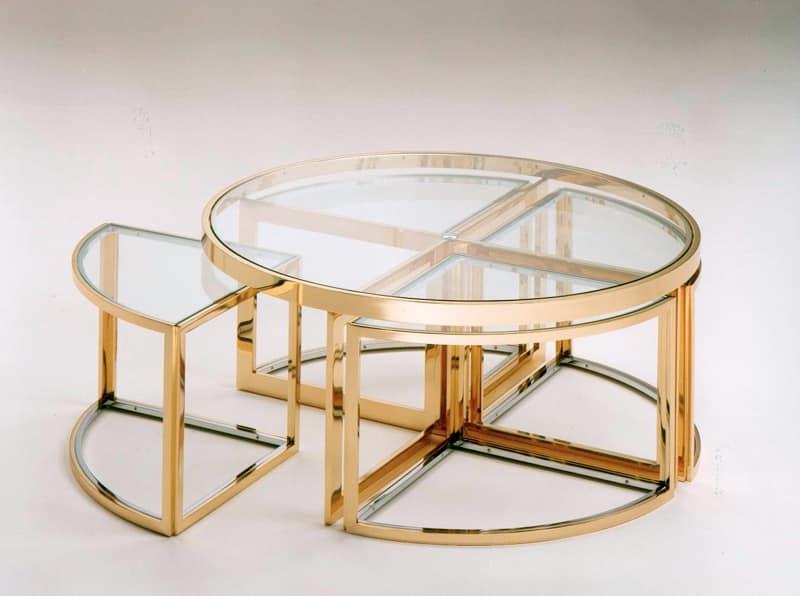 Tavolini bassi in acciaio inox e ottone, piano in vetro