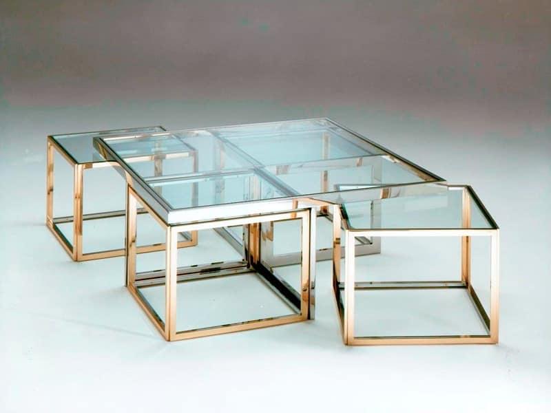 Tavolini bassi in acciaio inox e ottone piano in vetro for Tavolini vetro