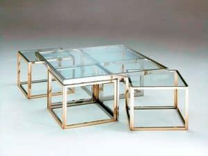 Pi� , Tavolini bassi in acciaio inox e ottone, piano in vetro