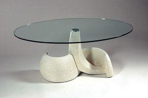 Poseidon, Tavolino stile classico, pietra e vetro