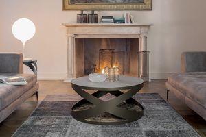 RIMINI, Tavolino o servetto con struttura in metallo,  base in marmo e top in vetro
