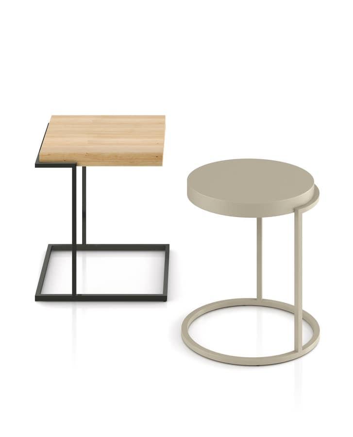 Servogiro, Tavolino tondo, con base in metallo e piano in legno