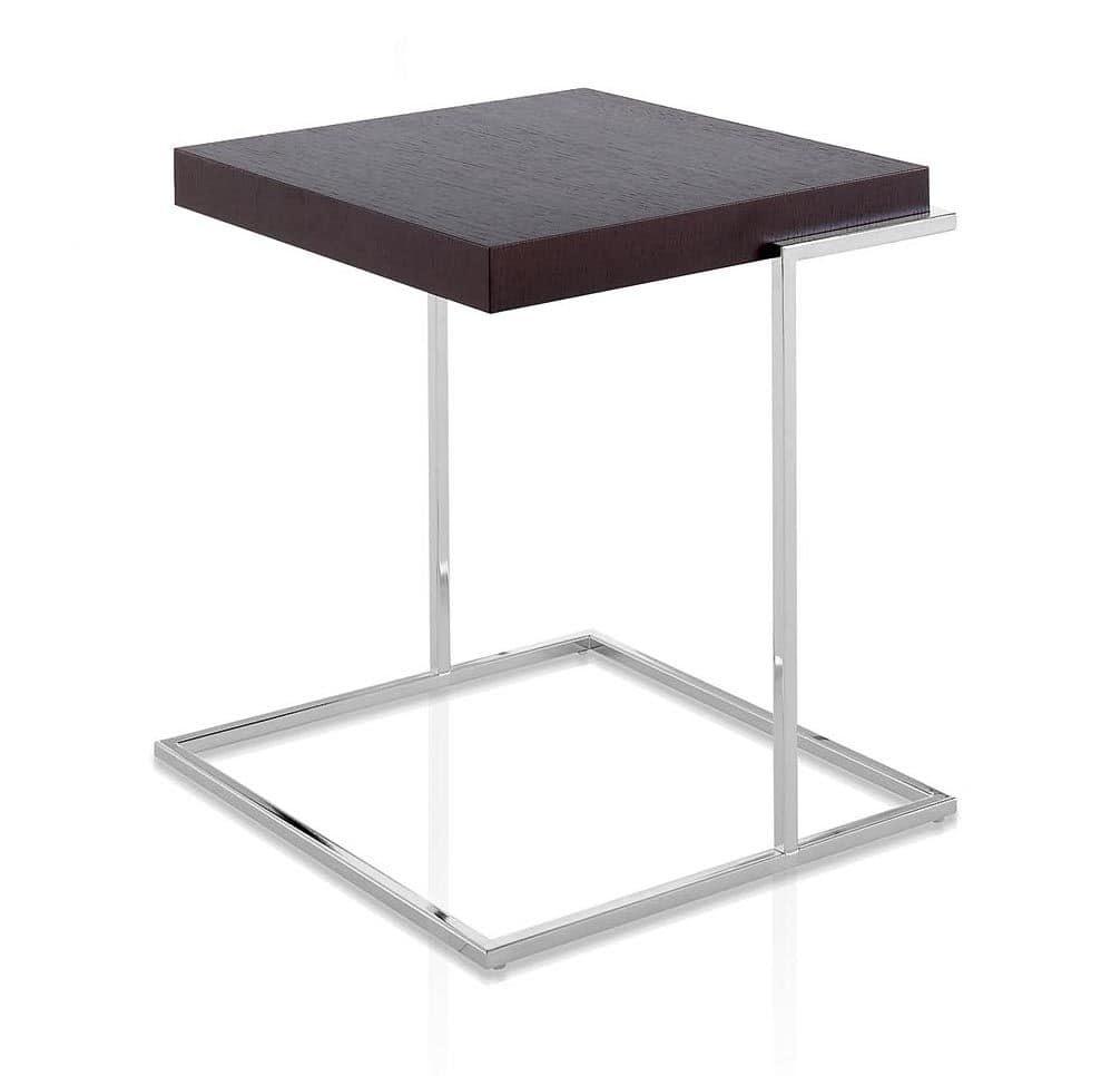 Servoquadro, Tavolino con piano quadrato in legno, base in metallo