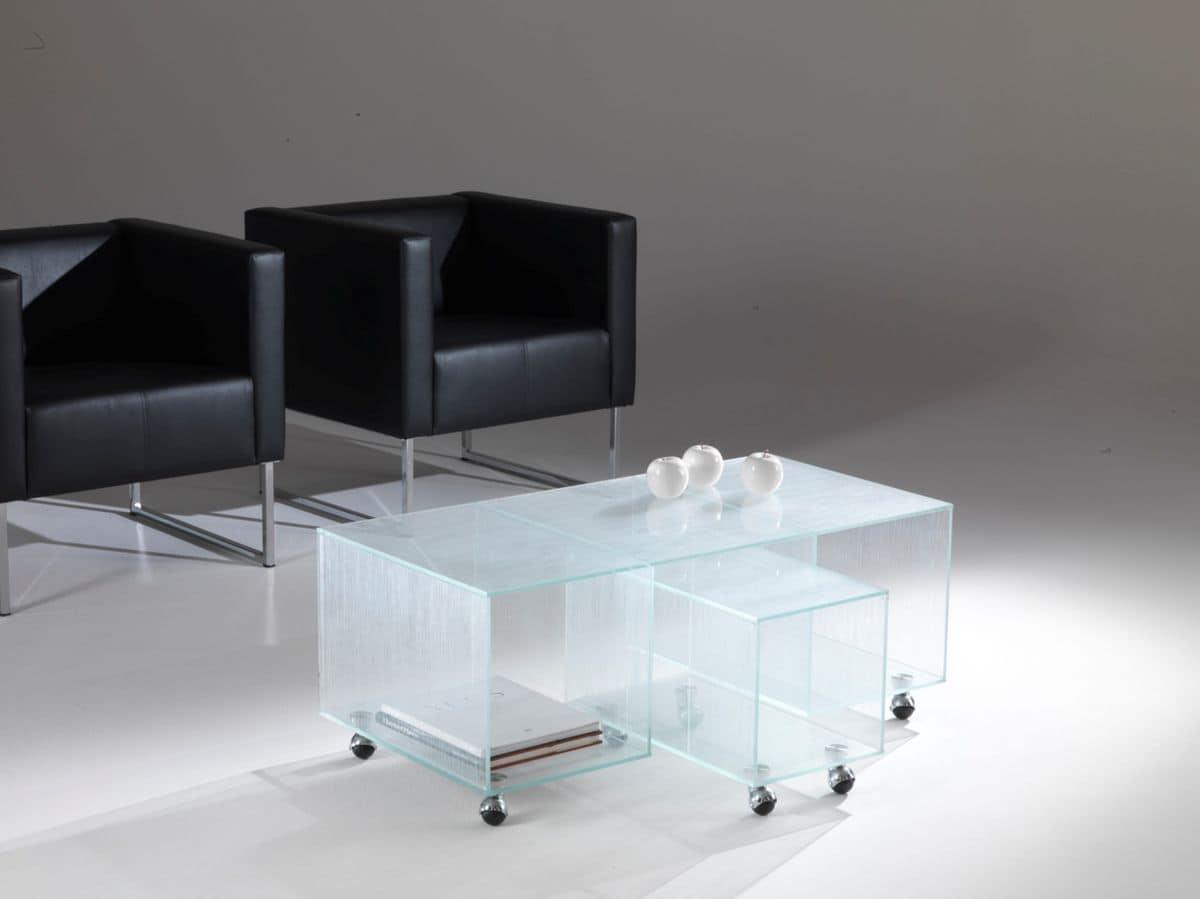 Set Tavolini Con Ruote Tavolini In Cristallo Con Ruote E Portariviste  #596B72 1200 899 Ikea Tavolini Bar