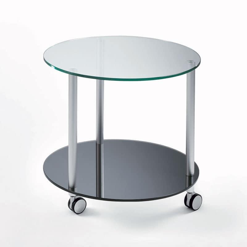 Tavolino tondo con ruote ripiani in vetro temperato for Tavolini vetro