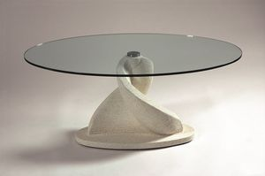 Shell, Tavolino ovale con piano in vetro
