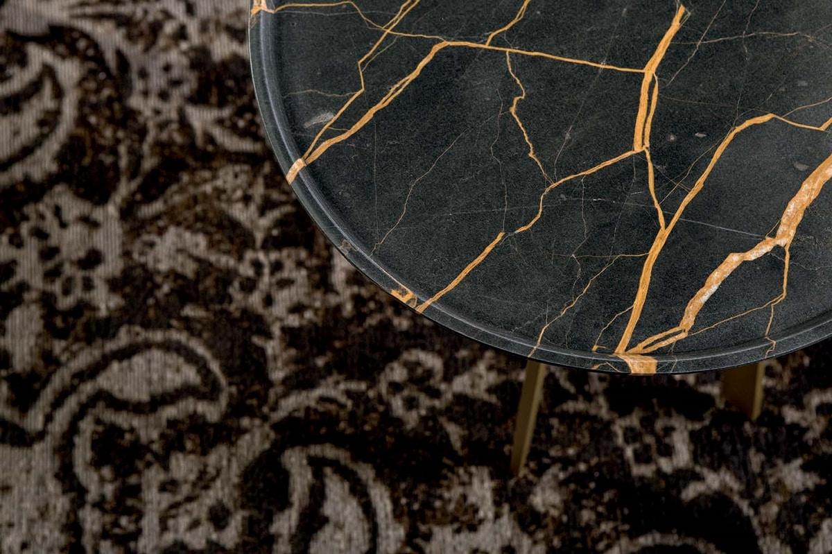 SHINE, Tavolino con base in metallo e piano in marmo lavorato a vassoio