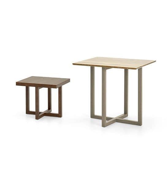 Sidney tavolini quadrati, Set tavolini quadrati, in legno di frassino, stile minimale
