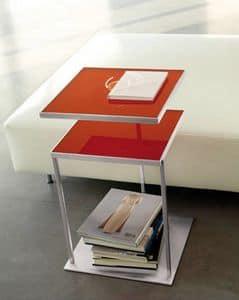 Square, Tavolino con due piani in vetro, piano superiore girevole