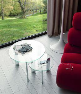 t118 duo, Coppia di tavolini con piano tondo in vetro