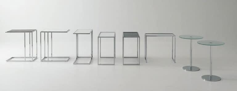 Tavolino da caff in acciaio e vetro per area - Tavolini vetro e ottone ...