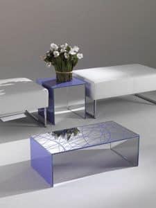 Tavolino 03, Tavolino rettangolare, in cristallo colorato