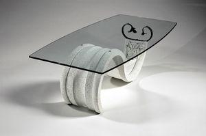Tellus, Tavolino stile classico con piano in vetro