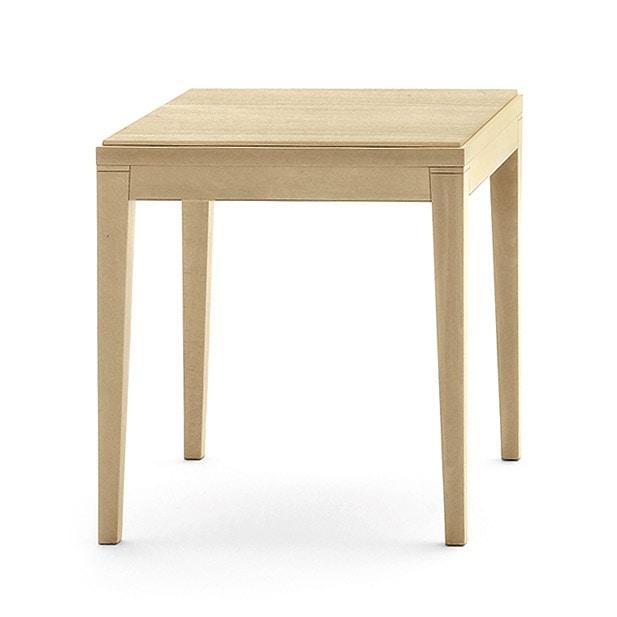 Toffee 810, Tavolino quadrato basso con struttura in faggio massiccio, piano in faggio impiallacciato, per ambienti moderni