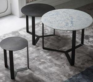 Tris, Tavolini impilabili lateralmente, in metallo