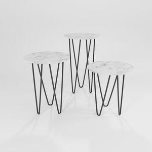 Trittico, Tavolini in ferro con piano tondo