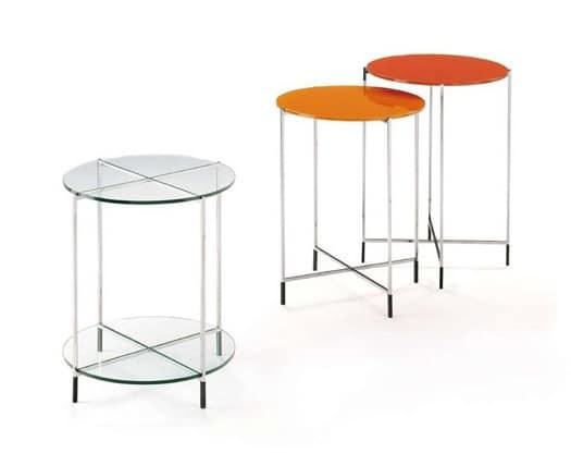Twin, Set di tavolini con piano in vetro e struttura in acciaio inox