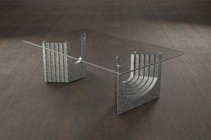 Ulisse, Tavolino moderno con piano in vetro