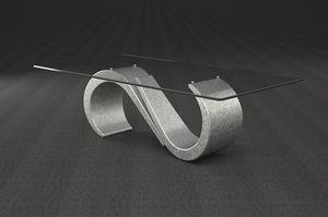 Urano, Tavolino con piano in vetro rettangolare