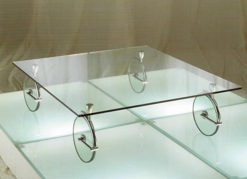 Tavolino originale da caffè, in vetro e ottone cromato