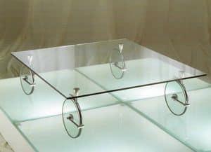 Vertigo, Tavolino originale da caffè, in vetro e ottone cromato