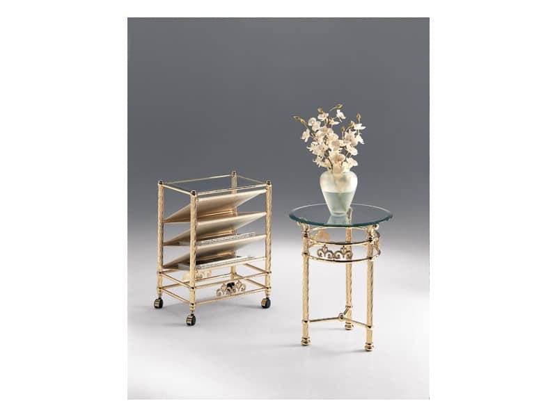 VIVALDI 1080, Tavolino tondo per salotto, in metallo, piano in cristallo