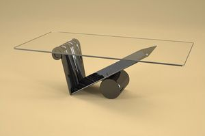 Zefiro, Tavolino stile moderno con piano in vetro