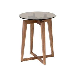 Zen tavolino tondo alto, Tavolino in noce canaletto, con piano tondo in vetro