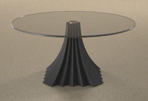 Zeus, Tavolino con piano tondo in cristallo