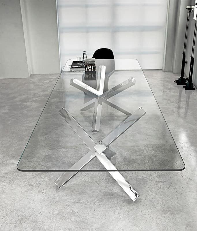 Tavolo con top in vetro per soggiorni e sale riunione for Tavolo riflessi cristallo