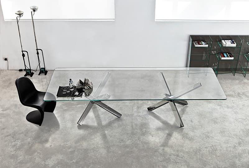 Tavolo con top in vetro per soggiorni e sale riunione - Base per tavolo in vetro ...