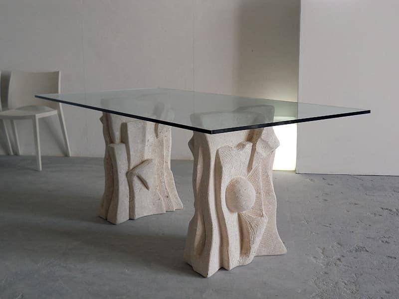 Tavolo in pietra con piano in vetro, stile moderno | IDFdesign