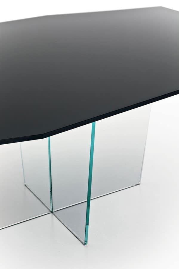 Tavolo con base in cristallo per sala da pranzo idfdesign - Tavoli in cristallo per sala da pranzo ...