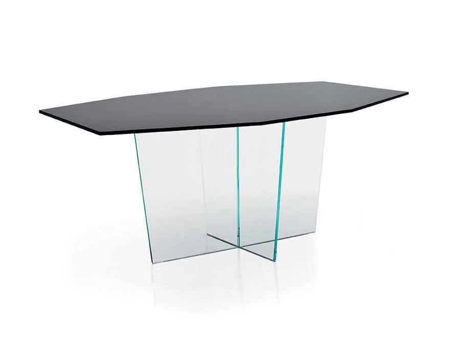 Tavolo con base in cristallo per sala da pranzo idfdesign - Base per tavolo cristallo ...