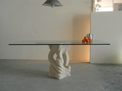 Tavoli piano in vetro australe - Tavolo con base in pietra ...