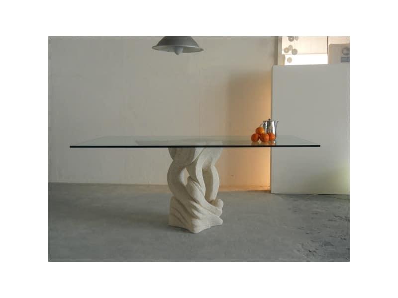 Australe, Tavolo da pranzo rettangolare con piano in vetro