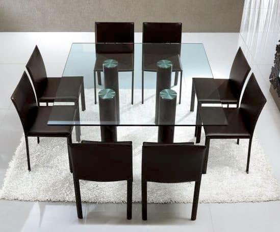 Tavoli tavoli moderni vetro idf for Tavolo pranzo cristallo