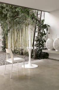 dl101 dallas, Tavolo con base in metallo, colonna in legno, piano in vetro