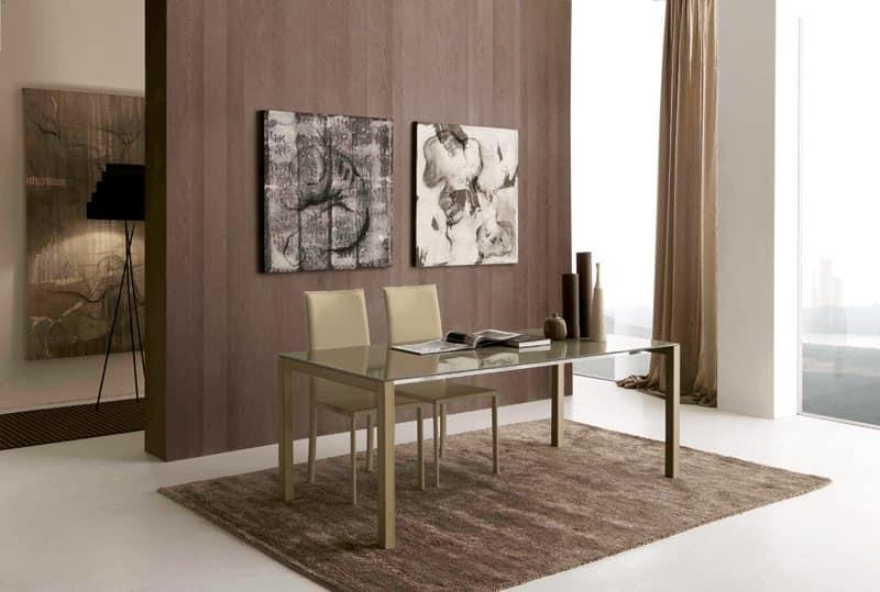 Tavolo rettangolare da pranzo in metallo e vetro idfdesign for Glass tavoli cristallo