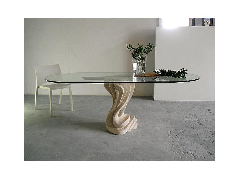 Tavolo per casa o ufficio, con base in pietra | IDFdesign