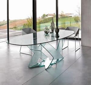 Tavolo da pranzo con piano tondo in vetro per ristorante for Tavolo tondo estensibile