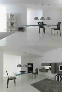 Light 390/392, Tavolo estensibili con gambe e piano in vetro, per ristorante