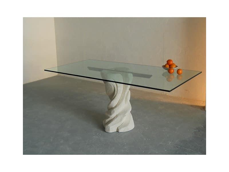 Tavolo Rettangolare Con Base In Pietra Piano In Cristallo
