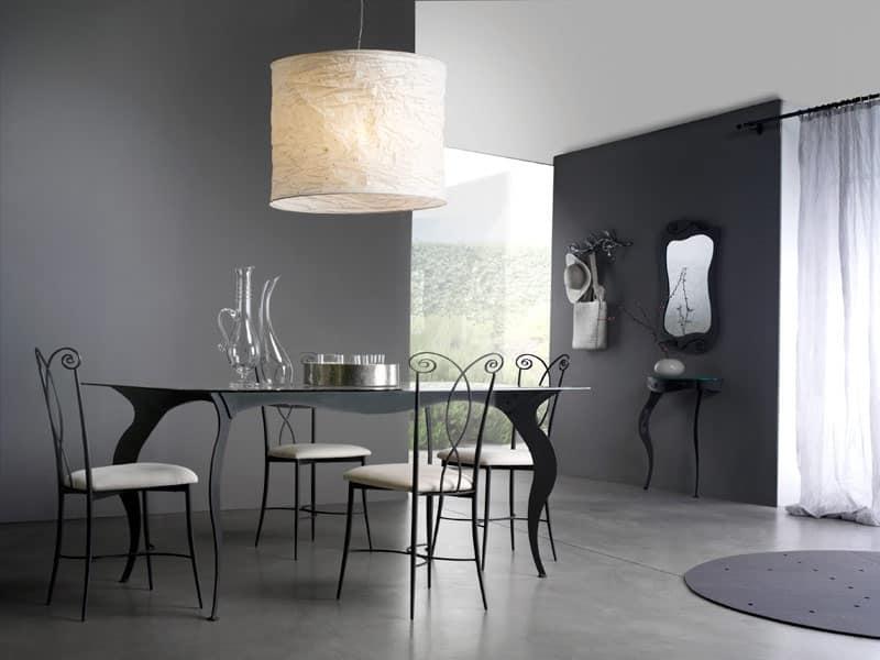 Tavolo con piano in vetro temperato satinato idfdesign - Tavolo sala da pranzo ...