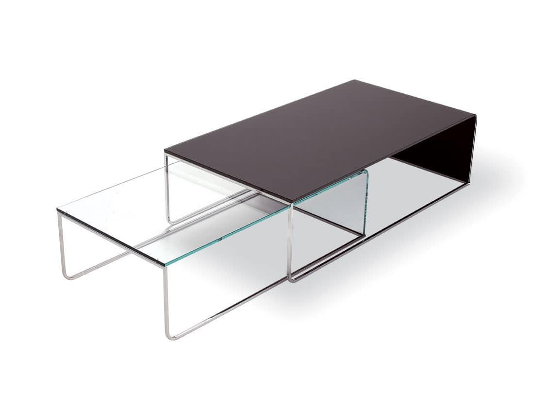 Tavolino moderno in vetro curvato e tubolare cromato, per hall  IDFdesign