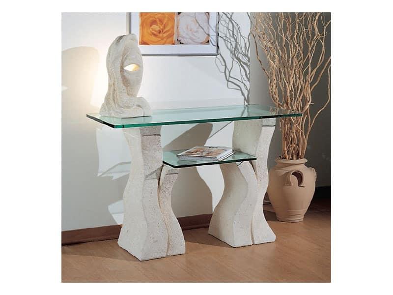 Set up, Tavolo in pietra con due ripiani in vetro