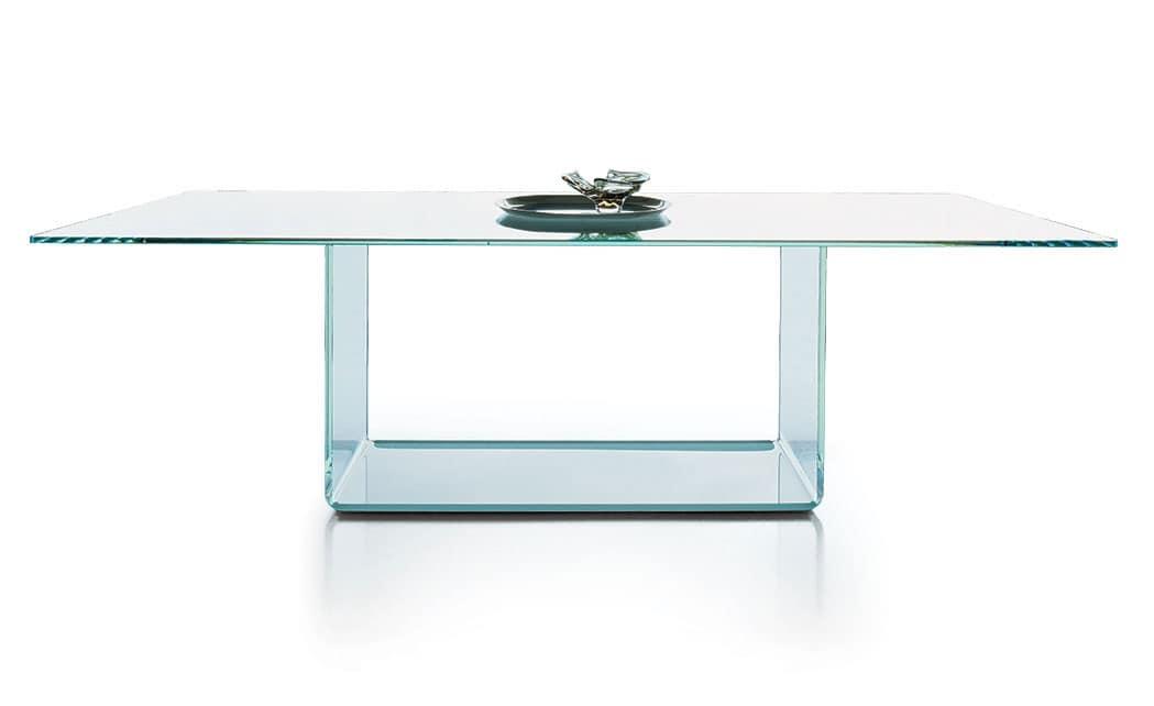 Tavolo allungabile piano in vetro trasparente per for Tavolo allungabile vetro trasparente
